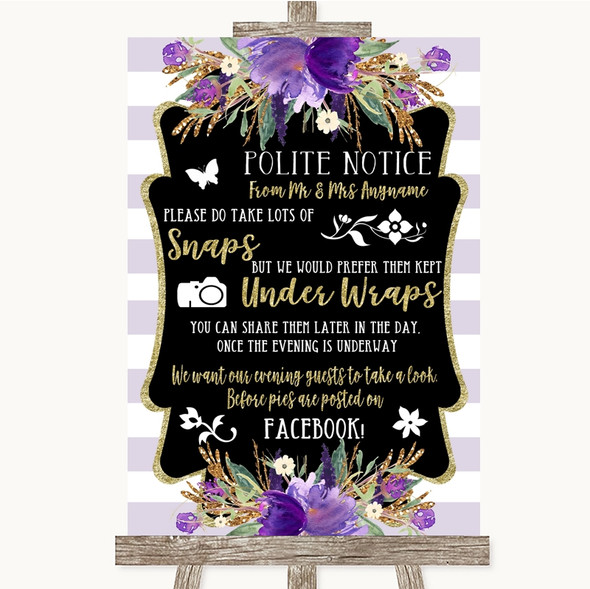 Gold & Purple Stripes Don't Post Photos Facebook Personalised Wedding Sign