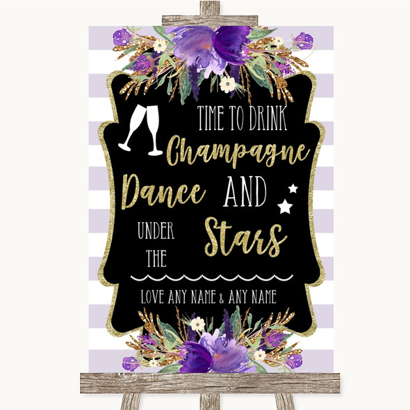 Gold & Purple Stripes Drink Champagne Dance Stars Personalised Wedding Sign