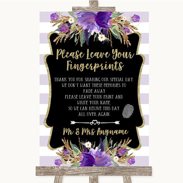 Gold & Purple Stripes Fingerprint Guestbook Personalised Wedding Sign