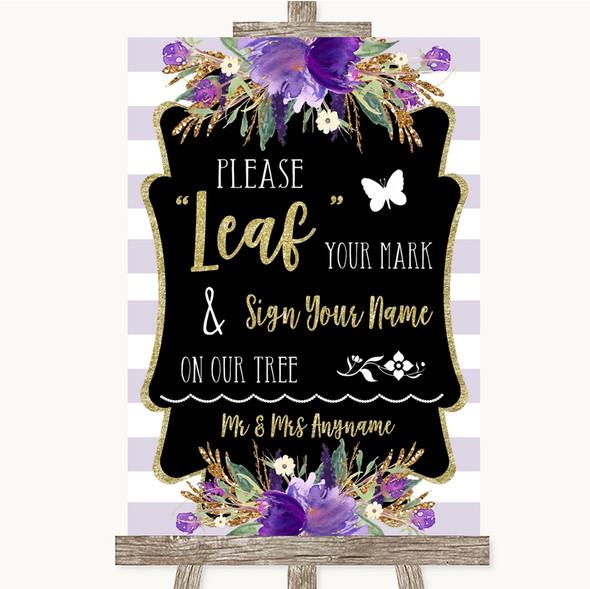 Gold & Purple Stripes Fingerprint Tree Instructions Personalised Wedding Sign