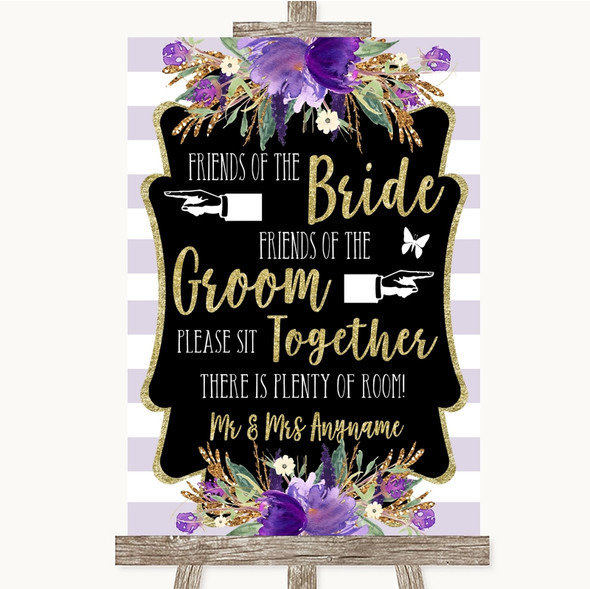 Gold & Purple Stripes Friends Of The Bride Groom Seating Wedding Sign