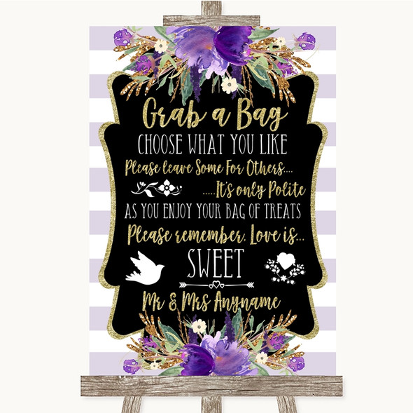 Gold & Purple Stripes Grab A Bag Candy Buffet Cart Sweets Wedding Sign