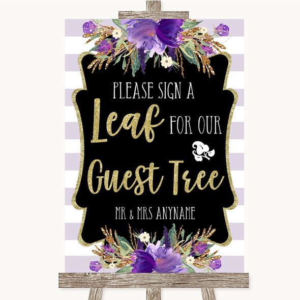 Gold & Purple Stripes Guest Tree Leaf Personalised Wedding Sign