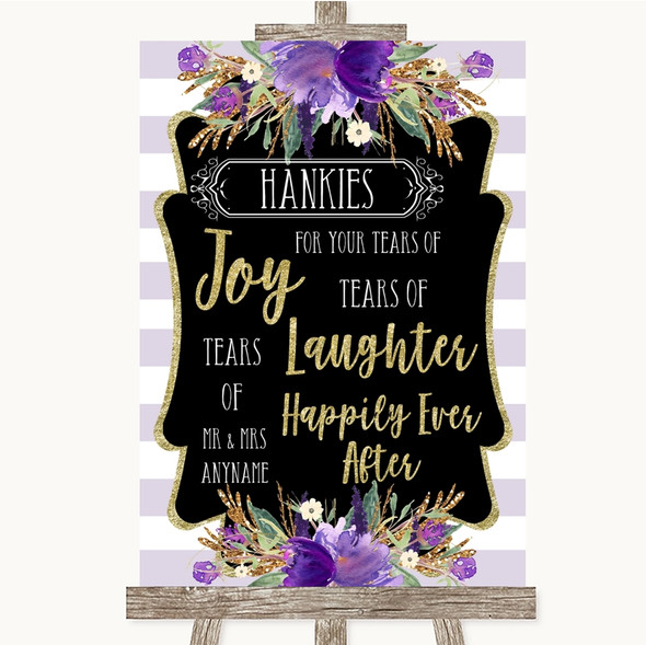 Gold & Purple Stripes Hankies And Tissues Personalised Wedding Sign