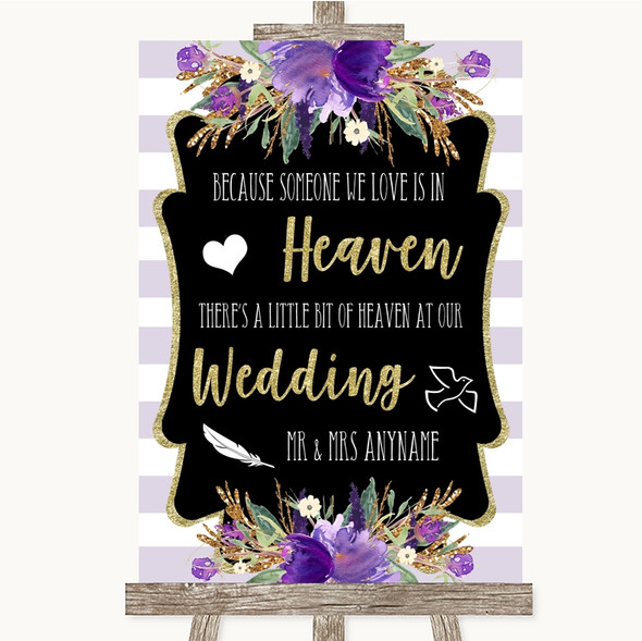 Gold & Purple Stripes Heaven Loved Ones Personalised Wedding Sign