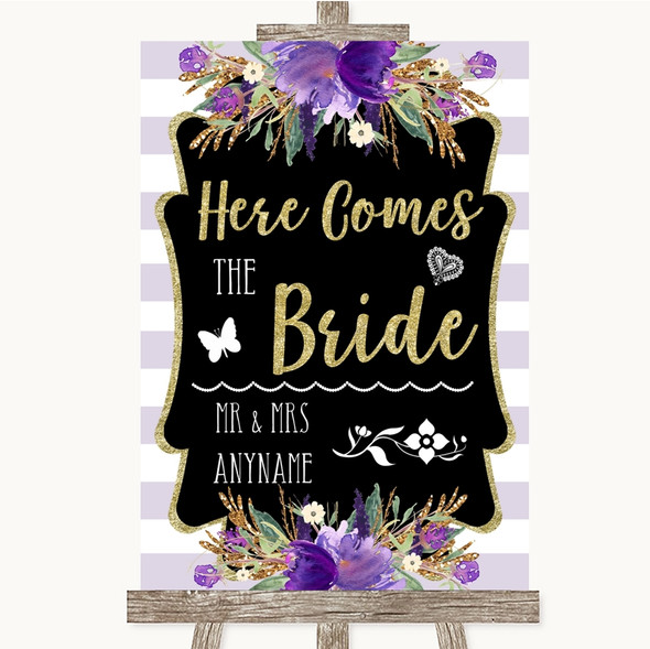 Gold & Purple Stripes Here Comes Bride Aisle Personalised Wedding Sign