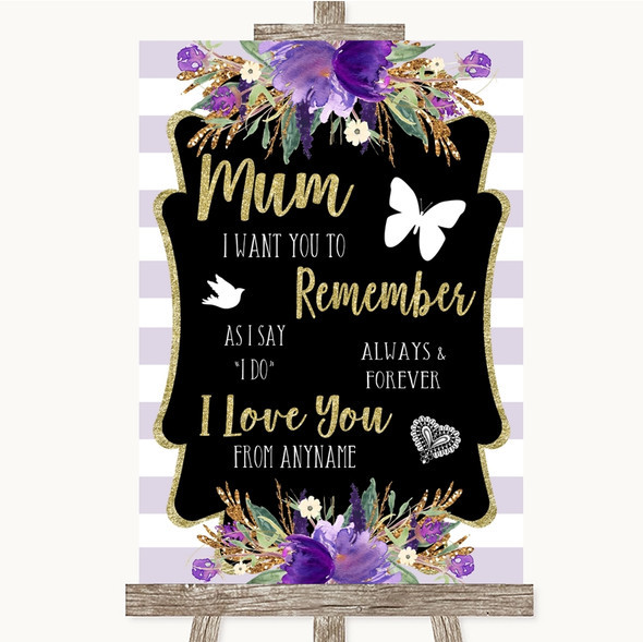 Gold & Purple Stripes I Love You Message For Mum Personalised Wedding Sign