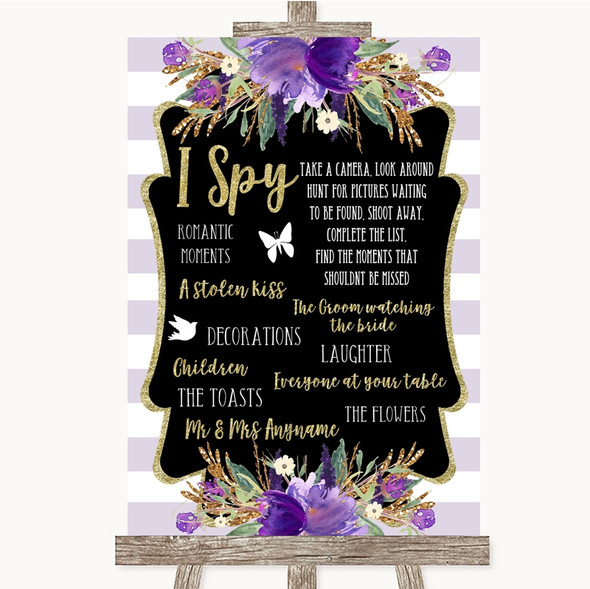 Gold & Purple Stripes I Spy Disposable Camera Personalised Wedding Sign