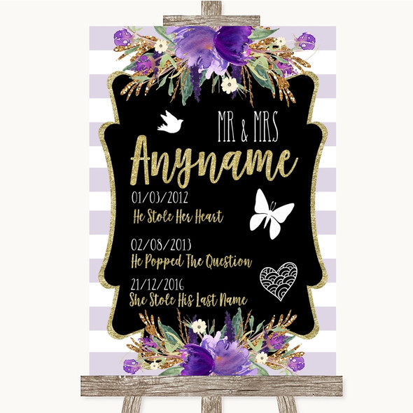 Gold & Purple Stripes Important Special Dates Personalised Wedding Sign
