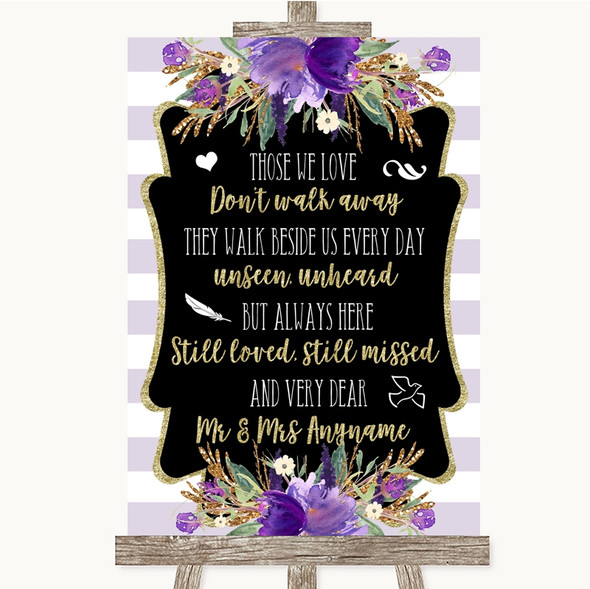 Gold & Purple Stripes In Loving Memory Personalised Wedding Sign