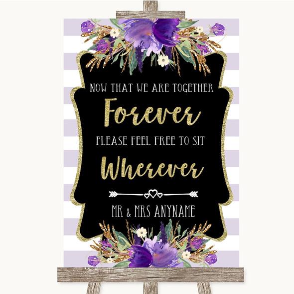 Gold & Purple Stripes Informal No Seating Plan Personalised Wedding Sign