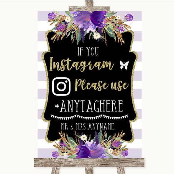 Gold & Purple Stripes Instagram Hashtag Personalised Wedding Sign