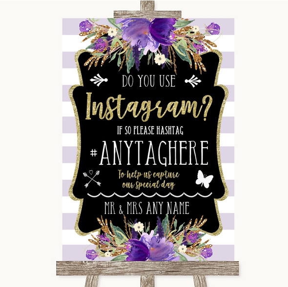 Gold & Purple Stripes Instagram Photo Sharing Personalised Wedding Sign