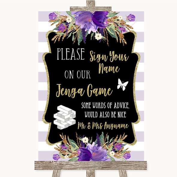 Gold & Purple Stripes Jenga Guest Book Personalised Wedding Sign