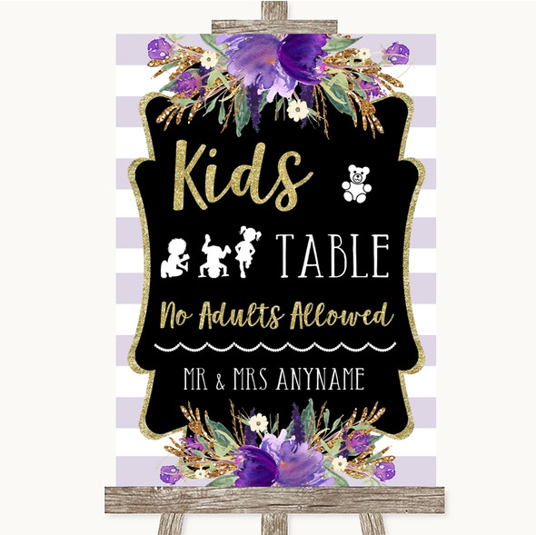 Gold & Purple Stripes Kids Table Personalised Wedding Sign