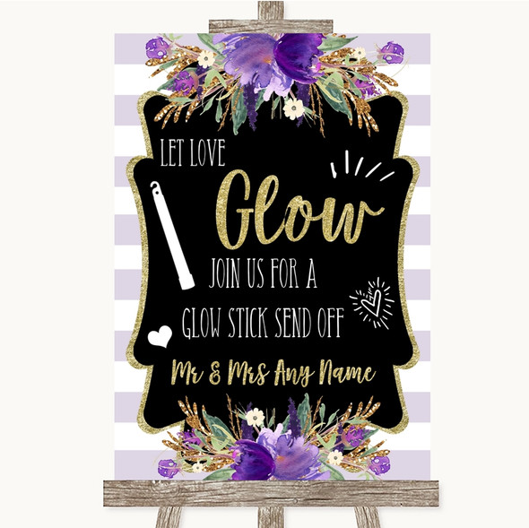 Gold & Purple Stripes Let Love Glow Glowstick Personalised Wedding Sign