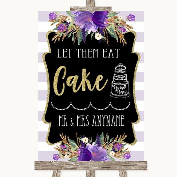 Gold & Purple Stripes Let Them Eat Cake Personalised Wedding Sign