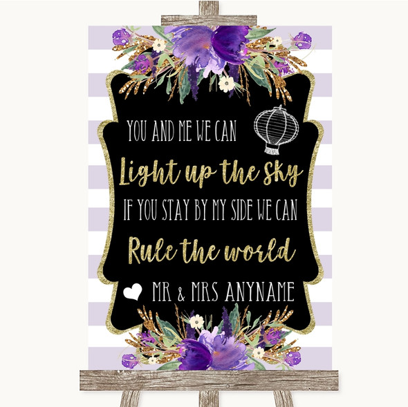 Gold & Purple Stripes Light Up The Sky Rule The World Personalised Wedding Sign