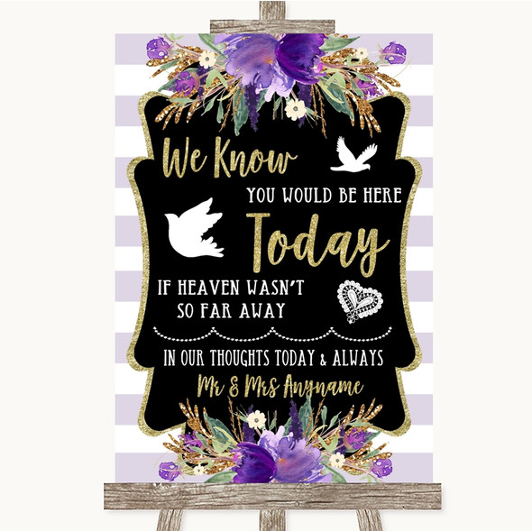 Gold & Purple Stripes Loved Ones In Heaven Personalised Wedding Sign