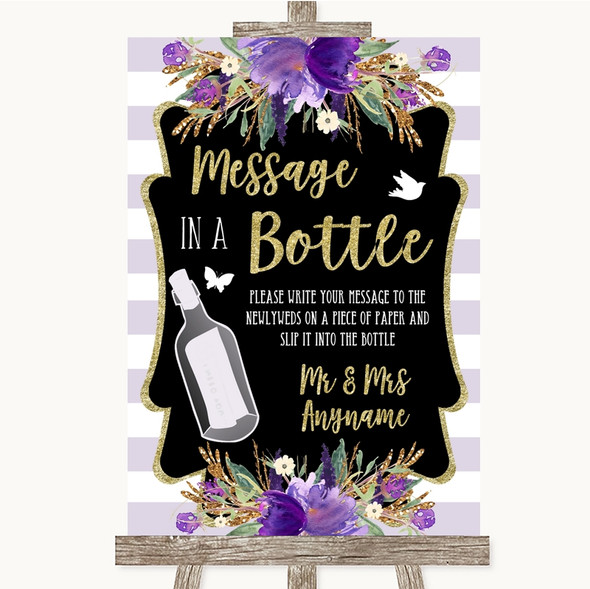 Gold & Purple Stripes Message In A Bottle Personalised Wedding Sign