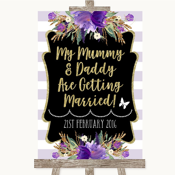 Gold & Purple Stripes Mummy Daddy Getting Married Personalised Wedding Sign