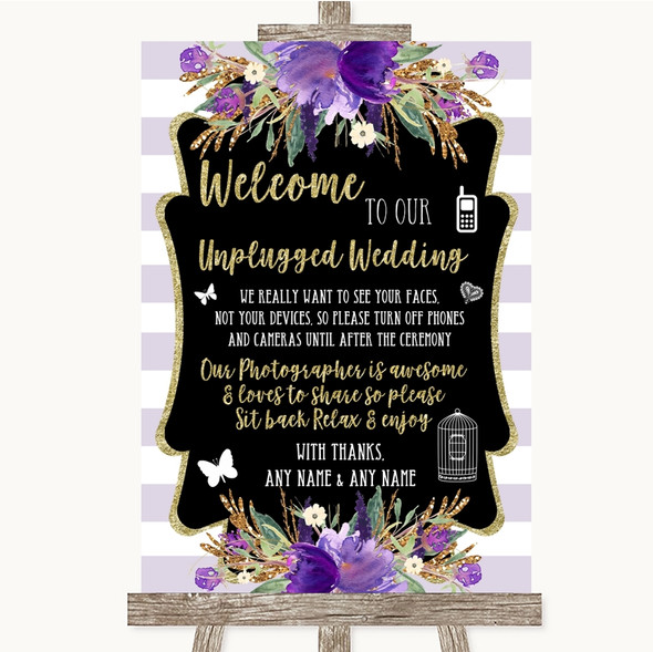 Gold & Purple Stripes No Phone Camera Unplugged Personalised Wedding Sign