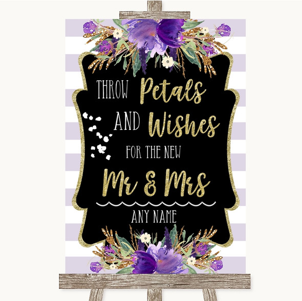Gold & Purple Stripes Petals Wishes Confetti Personalised Wedding Sign