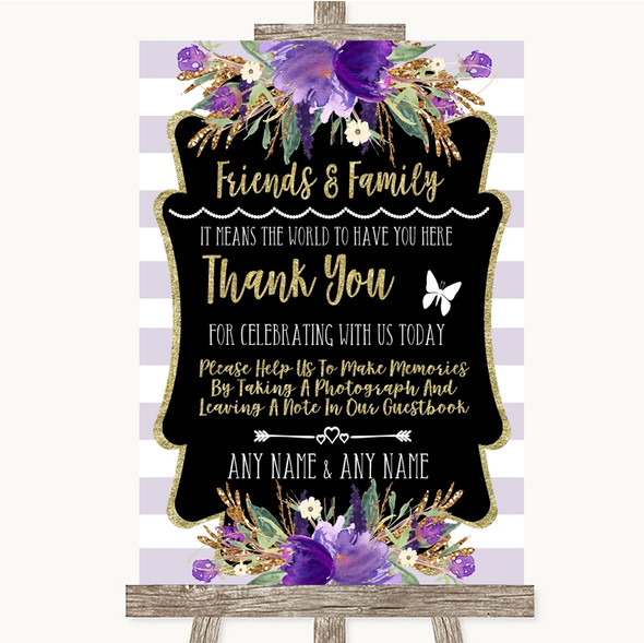 Gold & Purple Stripes Photo Guestbook Friends & Family Personalised Wedding Sign