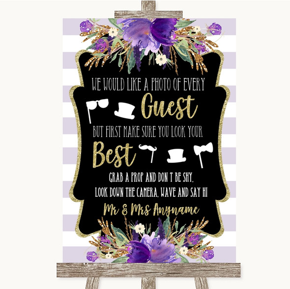 Gold & Purple Stripes Photo Prop Guestbook Personalised Wedding Sign