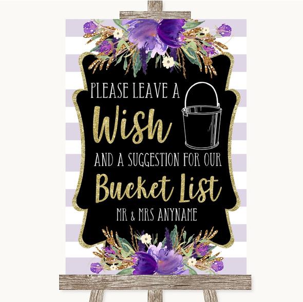 Gold & Purple Stripes Bucket List Personalised Wedding Sign