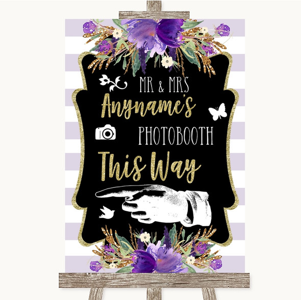 Gold & Purple Stripes Photobooth This Way Left Personalised Wedding Sign