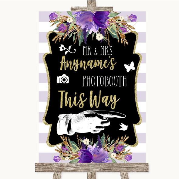 Gold & Purple Stripes Photobooth This Way Right Personalised Wedding Sign