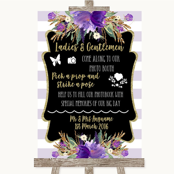 Gold & Purple Stripes Pick A Prop Photobooth Personalised Wedding Sign