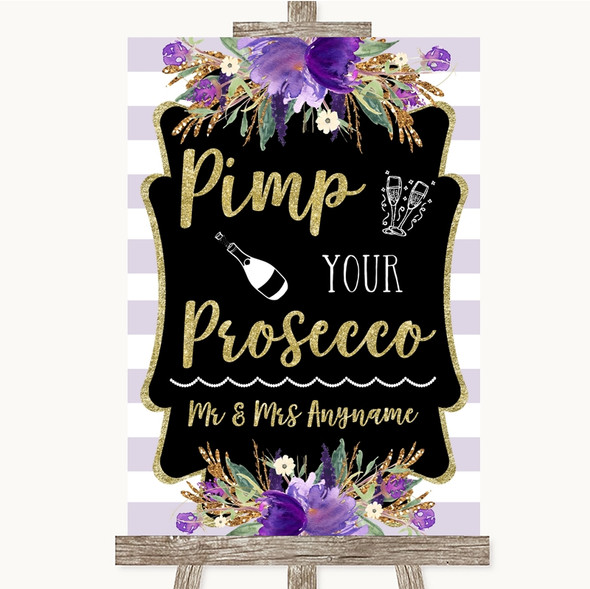 Gold & Purple Stripes Pimp Your Prosecco Personalised Wedding Sign