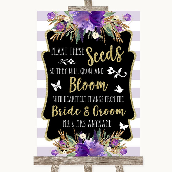 Gold & Purple Stripes Plant Seeds Favours Personalised Wedding Sign