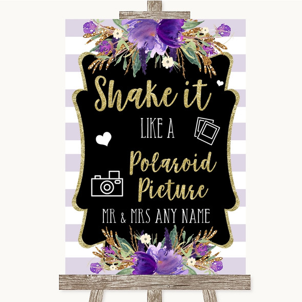 Gold & Purple Stripes Polaroid Picture Personalised Wedding Sign