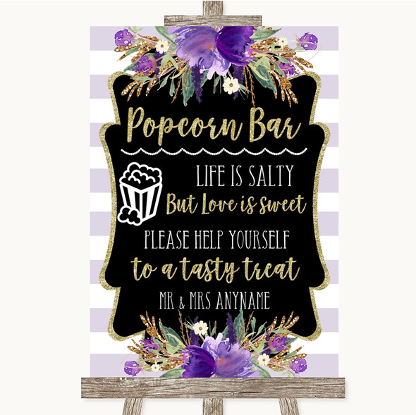 Gold & Purple Stripes Popcorn Bar Personalised Wedding Sign