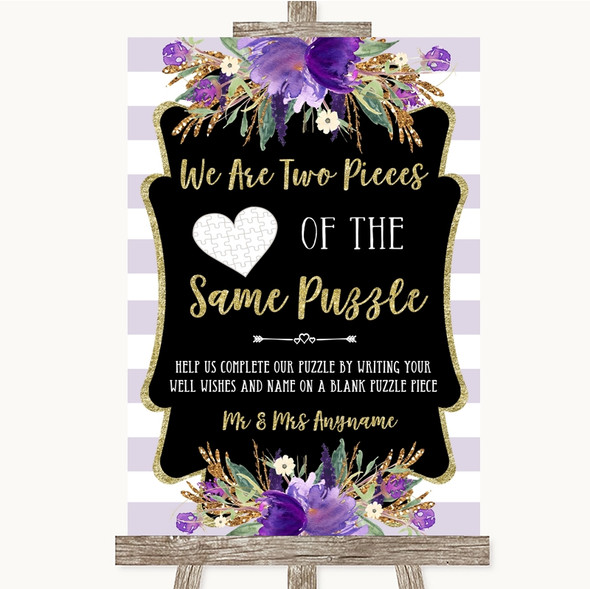 Gold & Purple Stripes Puzzle Piece Guest Book Personalised Wedding Sign