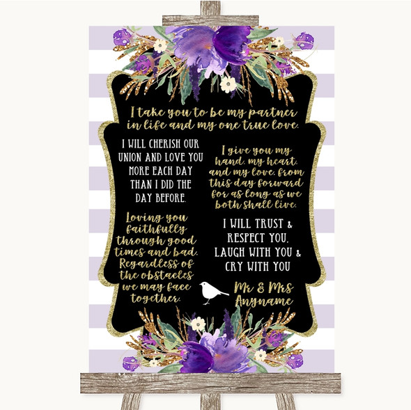 Gold & Purple Stripes Romantic Vows Personalised Wedding Sign