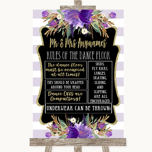 Gold & Purple Stripes Rules Of The Dance Floor Personalised Wedding Sign