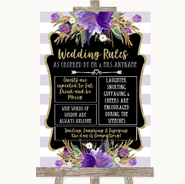 Gold & Purple Stripes Rules Of The Wedding Personalised Wedding Sign