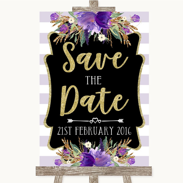 Gold & Purple Stripes Save The Date Personalised Wedding Sign