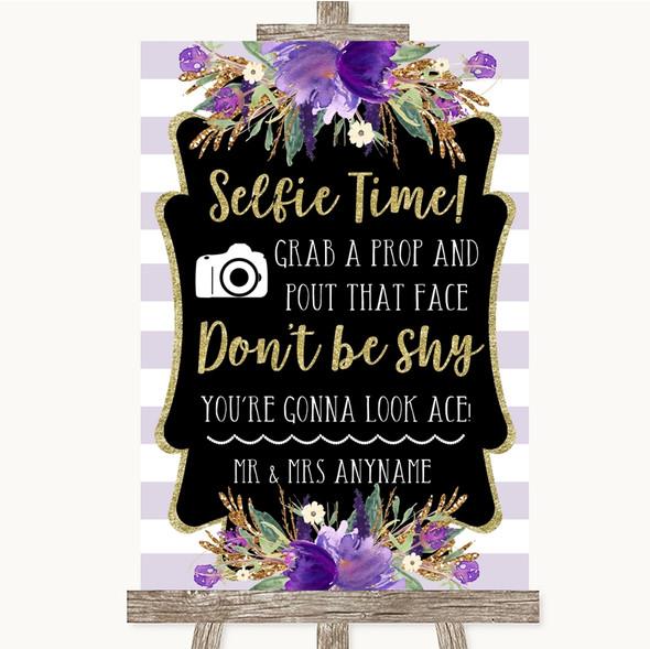 Gold & Purple Stripes Selfie Photo Prop Personalised Wedding Sign