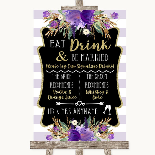 Gold & Purple Stripes Signature Favourite Drinks Personalised Wedding Sign