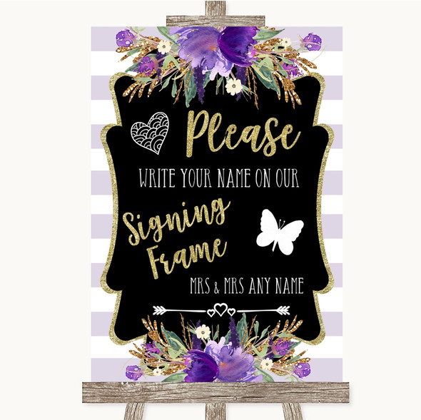 Gold & Purple Stripes Signing Frame Guestbook Personalised Wedding Sign