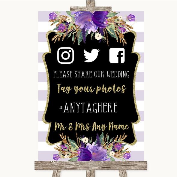 Gold & Purple Stripes Social Media Hashtag Photos Personalised Wedding Sign
