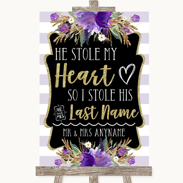 Gold & Purple Stripes Stole Last Name Personalised Wedding Sign