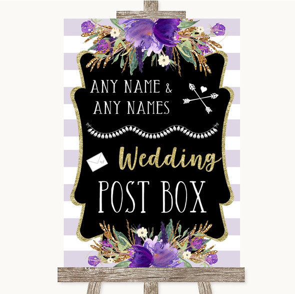 Gold & Purple Stripes Card Post Box Personalised Wedding Sign