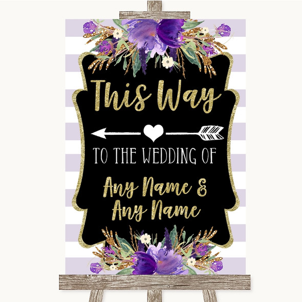 Gold & Purple Stripes This Way Arrow Left Personalised Wedding Sign