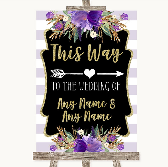 Gold & Purple Stripes This Way Arrow Right Personalised Wedding Sign